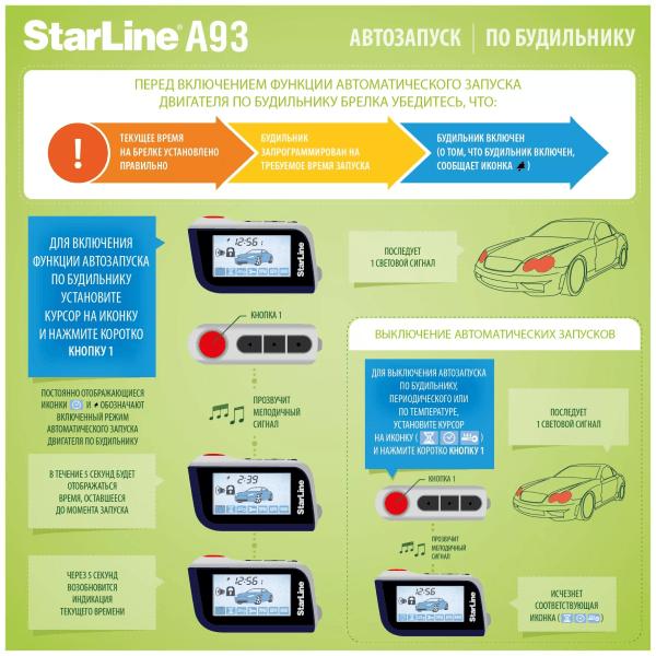 Старлайн а93 как запустить с брелка